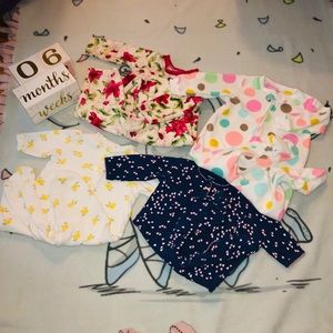 Set Of Four 6 Month Long Sleeve Onesies